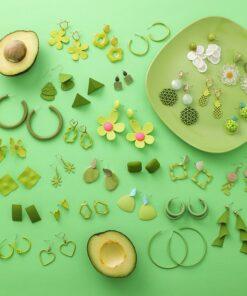 [925銀针]復古甜美綠色系耳墜