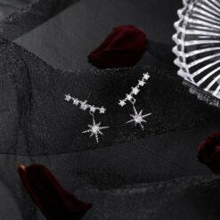 [925銀針]微鑲鋯石八芒星耳環
