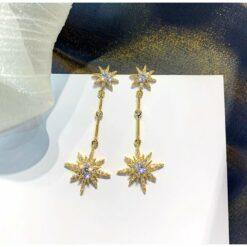 [925銀針]八芒星氣質垂掛耳環