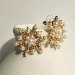 [925銀針]雪花狀甜美珍珠耳環