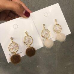 [925銀針]甜美捕夢網珍珠耳環