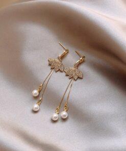 [925銀針]氣質珍珠流蘇耳墜耳環