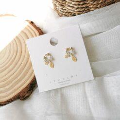 [925銀針]鏤空樹葉迷你耳環