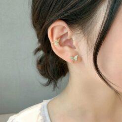 [925銀針]水鉆蝴蝶耳釘耳夾