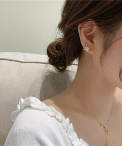 s925銀針芒星流蘇不對稱耳環