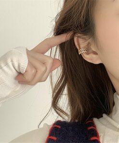 镶锆石可调节波浪耳扣耳骨夹