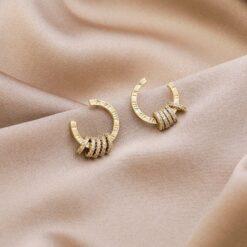 [925銀針]微鑲鋯石半圓形耳釘