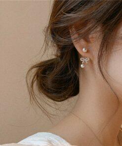 [925銀針]甜美蝴蝶結珍珠耳環