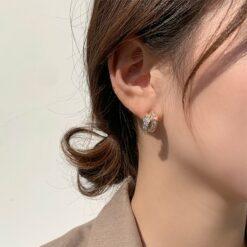 925銀針精致水鉆雙圈耳釘