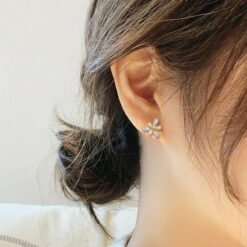 [925銀針]雙層氣質花瓣耳釘