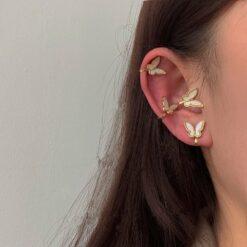 [925銀针]蝴蝶耳骨夾式耳環