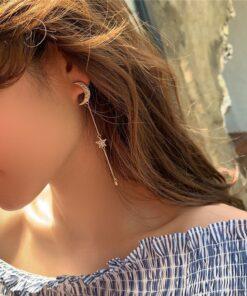[S925針]氣質流蘇甜美耳釘閃鉆不對稱星星月亮耳環
