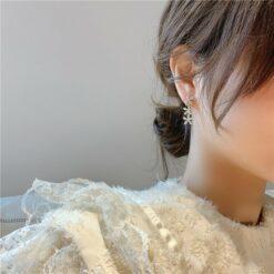[925銀針]鑲鑽高級長款耳墜