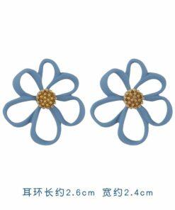 [925銀針]簡約藍色系百搭耳環