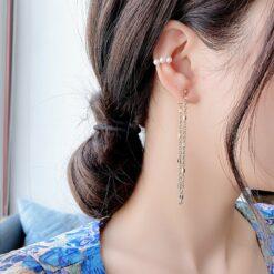 [925銀針]3件套流蘇耳線珍珠耳骨夾