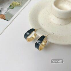 [925銀針]滴油霧霾藍耳釘耳環