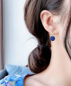 [925銀針]藍色星空耳飾