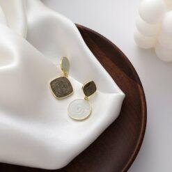 [925银针]简约涂釉菱形耳环