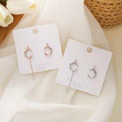 [925銀針]月牙形鋯鑚花環耳飾