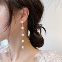 [925銀針]淡水珍珠耳環長款