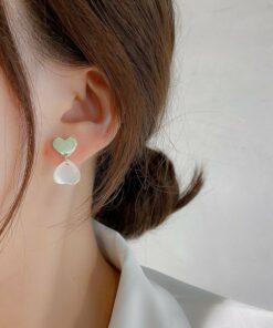[925銀針]雙拼色心形耳環耳釘