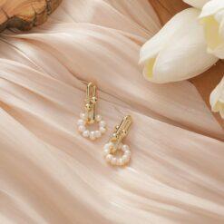 [925銀針]金屬質感淡水珍珠耳環