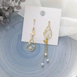 [925銀針]蝴蝶樹葉橢圓珍珠流蘇耳環
