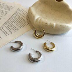 [925銀針]金屬珍珠韓式耳環