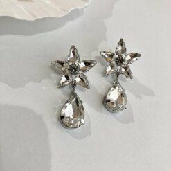 [925銀針]復古五角星透明水滴耳環