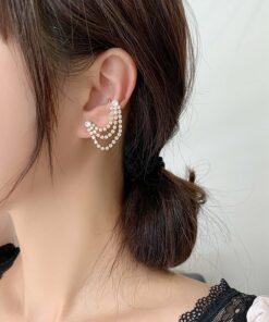 [耳夾/耳骨夾]鑲鑽流蘇狀耳骨夾