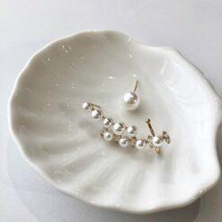[925銀针]一體式不對稱珍珠耳骨夾