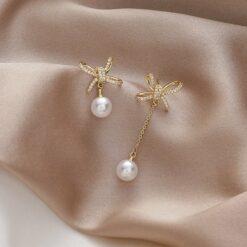 [925銀針] 珍珠蝴蝶結鋯石耳墜