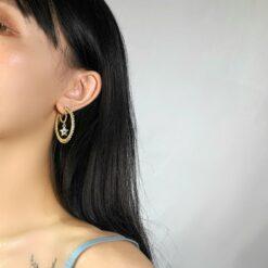 [925銀针]時尚星星C形珍珠耳環