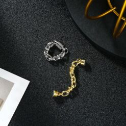 【925銀針】链条耳蜗夹