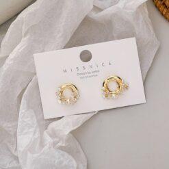 [925銀針]鍍真金復古珍珠耳環