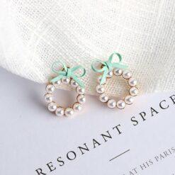 可爱少女蝴蝶结珍珠耳环
