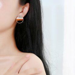 彩色花紋幾何形耳釘耳環