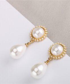 [925银针]珍珠合金几何耳钉