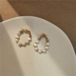 [925銀針]圓圈超仙珍珠耳環