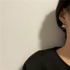 土星珍珠復古耳釘