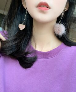 [耳環]毛球愛心耳環耳夾