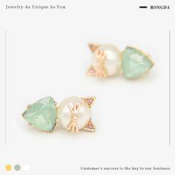 [925銀針]貓咪珍珠耳釘