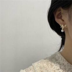[925銀針]小天使雕像珍珠耳釘