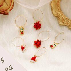 [耳環]聖誕彩花聖誕帽麋鹿耳環