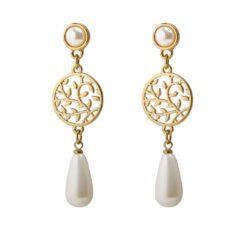 [925銀針]鏤空玻璃珍珠耳環耳夾