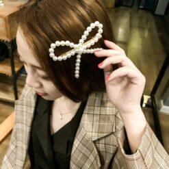 蝴蝶結珍珠髪夾
