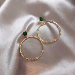 [925銀針]復古綠孔雀石金屬大圈耳環