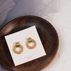[925銀針]復古金屬圓圈耳環耳墜