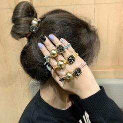 復古珍珠森系髪圈