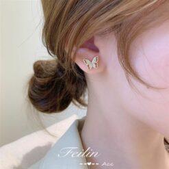 [925銀針]氣質森系蝴耳環耳骨釘